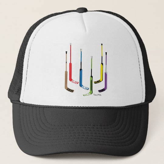 Colourful Hockey Goalie Sticks Trucker Hat