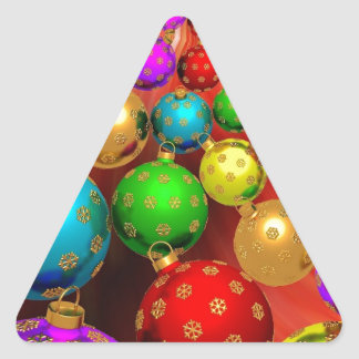 Colourful Holiday Christmas Tree Ornaments Gold Triangle Sticker