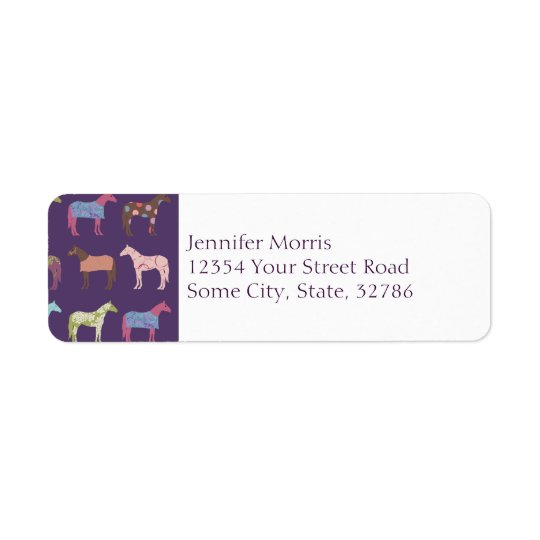 Colourful Horse Pattern Return Address Label