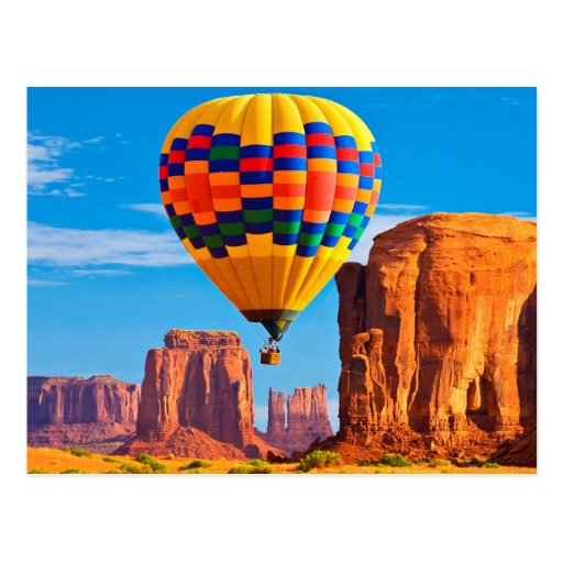 Colourful Hot Air Balloon Over Rocks Postcard