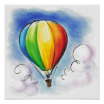 Colourful Hot air Balloon paint poster