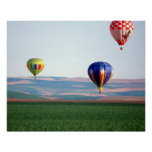 Colourful hot air balloons float over wheat poster