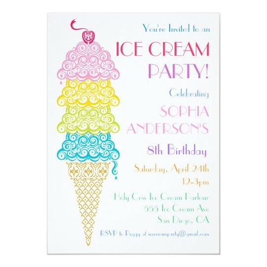 Colourful Ice Cream Cone Party Invitation