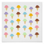 Colourful Ice Cream Cones Poster