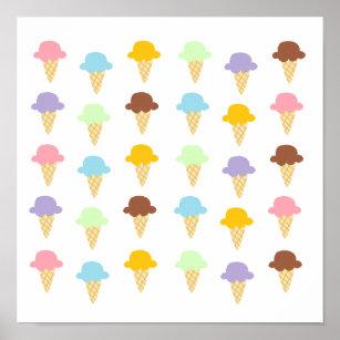 Colourful Ice Cream Cones Poster