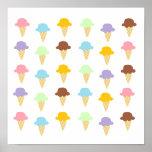 Colourful Ice Cream Cones Print