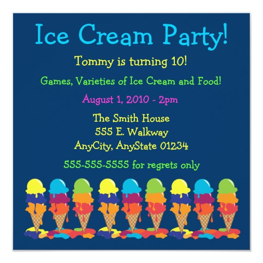 Colourful Ice Cream Party Invitation