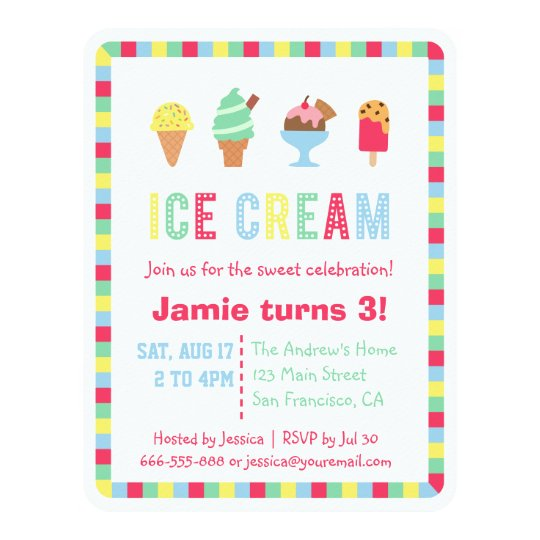 Colourful Ice Cream Summer Party Invitations