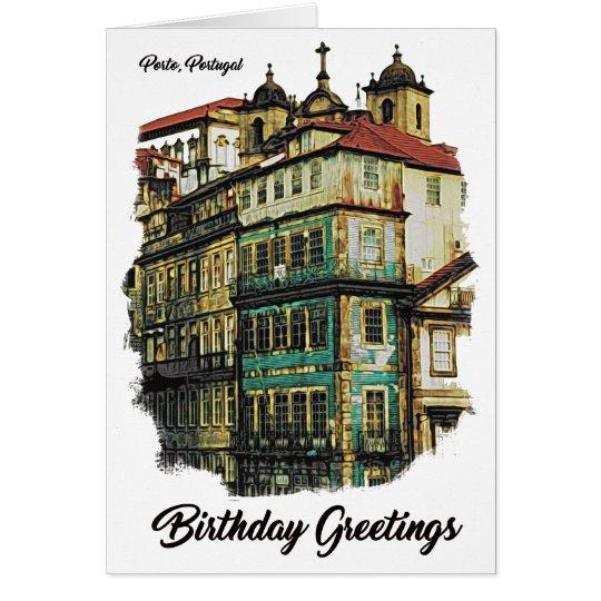 Colourful image of Porto, Portugal Birthday Card