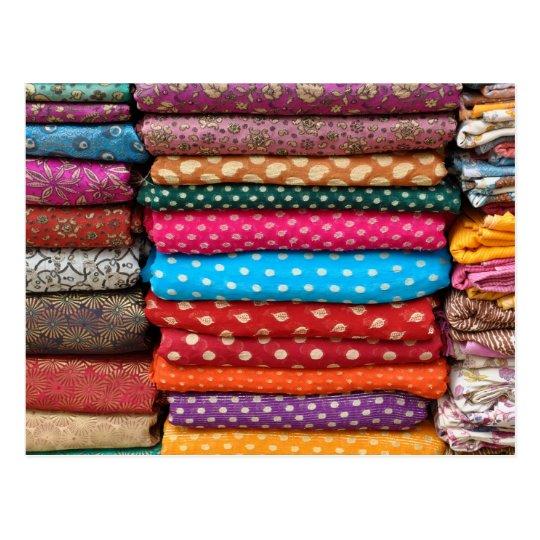 Colourful Indian Asian Sari Fabric Postcard