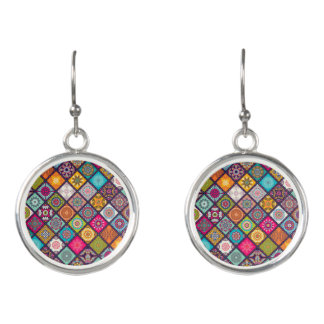 Colourful Indian mandala fashion Earrings