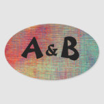 Colourful Initials Oval Stickers