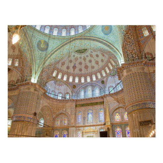 Colourful interior domed ceiling of Blue Mosque Postcard