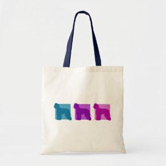 Colourful Irish Water Spaniel Silhouettes Canvas Bags