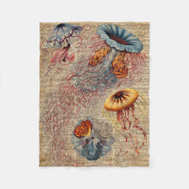 Colourful Jellyfish Sea Life Vintage Old Book Page Fleece Blanket
