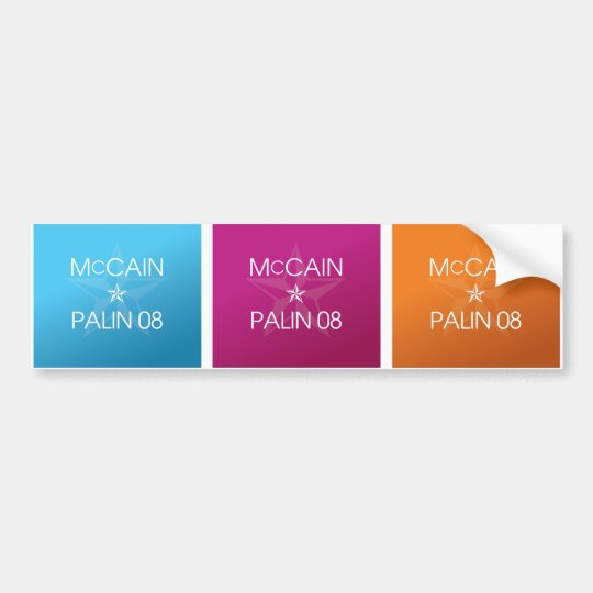 Colourful John McCain * Sarah Palin 2008 Bumper Sticker