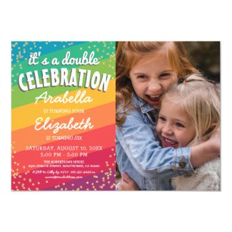 Colourful Joint Sibling Photo Birthday Party Invitation