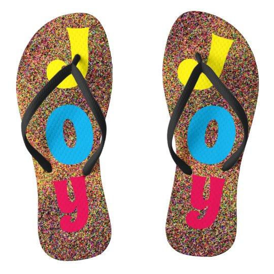 Colourful JOY Letters Fun Flip Flops