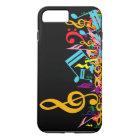 Colourful Jumbled Music Notes on Black iPhone 8 Plus/7 Plus Case