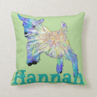 Colourful jumping baby Goat on Personalised Name Cushion