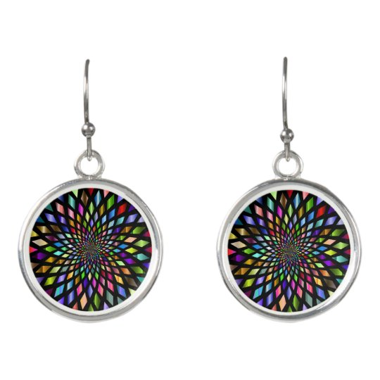 Colourful Kaleidoscope Dangle Earrings