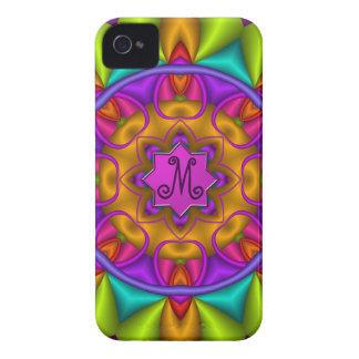 Colourful kaleidoscope & Monogram iPhone 4 Cover