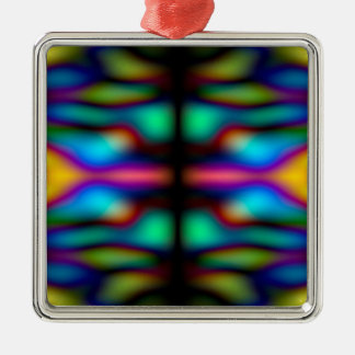 Colourful kaleidoscope pattern Silver-Colored square decoration