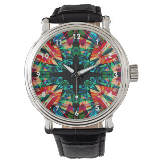 Colourful kaleidoscope pattern watch