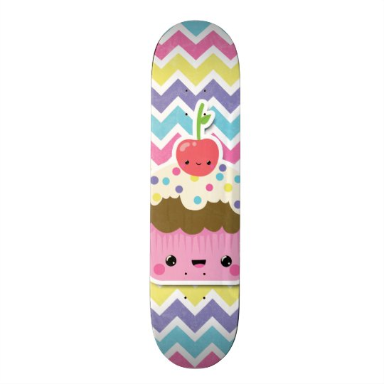 Colourful Kawaii Cupcake on Chevrons 20.6 Cm Skateboard
