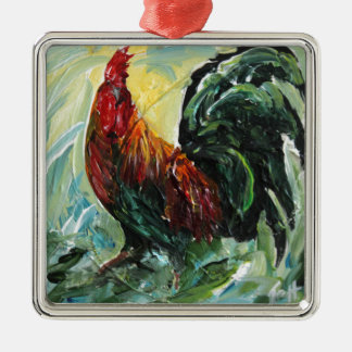Colourful Keith the RoosterRooster Silver-Colored Square Decoration
