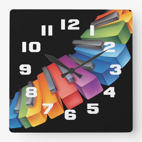 Colourful Keyboard Cool Music Square Wall Clock
