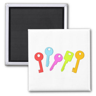 Colourful Keys Square Magnet