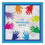 Colourful kids handprints with blue borders poster