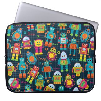 Colourful Kids Robot Laptop Sleeve