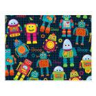 Colourful Kids Robot Postcard