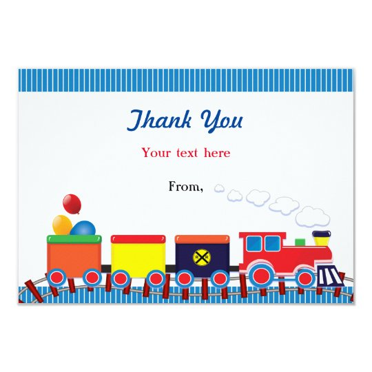 Colourful Kids Train Birthday Party Thank You Card
