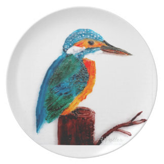 Colourful Kingfisher Bird Art Plate