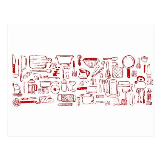 Colourful Kitchen Pattern Postcard