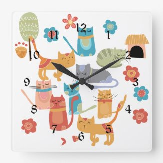 Colourful Kitty Cats Print Gifts for Cat Lovers Square Wall Clock
