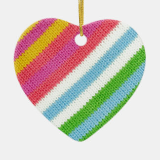 Colourful knitted background ceramic heart decoration