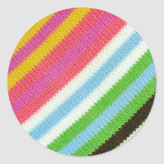 Colourful knitted background classic round sticker