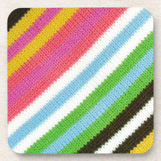 Colourful knitted background coaster