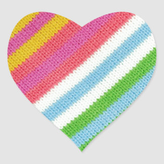 Colourful knitted background heart sticker