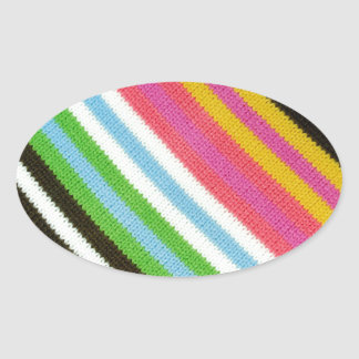 Colourful knitted background oval sticker