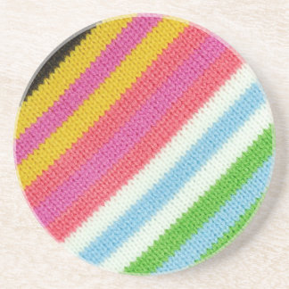 Colourful knitted background sandstone coaster