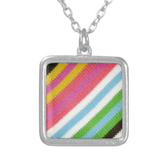 Colourful knitted background silver plated necklace