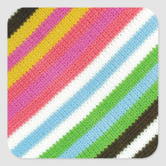 Colourful knitted background square sticker