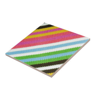 Colourful knitted background tile