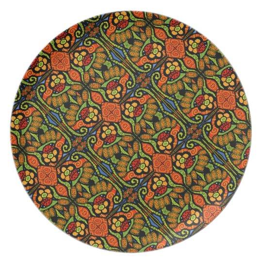 Colourful Ladybug Pattern Polka Dots Flowers Plate