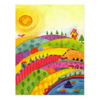 colourful landscape postcard